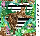 vector leopards in colorful... | Shutterstock .eps vector #301906145