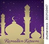 "gold mosque and stars ""ramadan... | Shutterstock .eps vector #301910447"