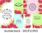 wedding invitation cards with... | Shutterstock .eps vector #301911905