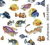 Marine Life Watercolor Seamless ...