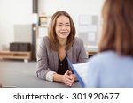 smiling pretty young office... | Shutterstock . vector #301920677