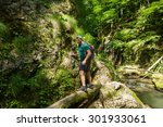 hiker on a trail walking... | Shutterstock . vector #301933061