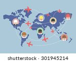 businessman and airplane routes ... | Shutterstock .eps vector #301945214