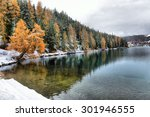 Stock photo lake st moritz with the first snow in the autumn 301946555