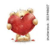 Stock photo cute teddy bear in love with big red heart valentines or mothers day postcard 301948607
