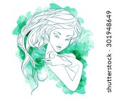 watercolor beautiful girl.... | Shutterstock .eps vector #301948649