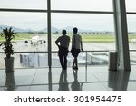 airline passengers silhouettes... | Shutterstock . vector #301954475