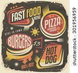 fast food restaurant menu...   Shutterstock .eps vector #301956959
