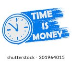 time is money with clock symbol ... | Shutterstock .eps vector #301964015