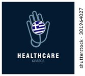 greece national flag on... | Shutterstock .eps vector #301964027