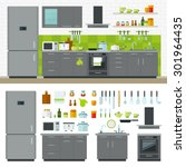 concept of modern kitchen. flat ... | Shutterstock .eps vector #301964435