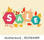 autumn sale with fall leaves ... | Shutterstock .eps vector #301964489