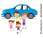 family and their car. vector... | Shutterstock .eps vector #301964669
