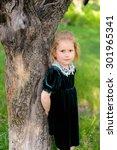 pretty girl standing near the... | Shutterstock . vector #301965341