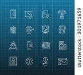 set of thin flat business... | Shutterstock .eps vector #301971659