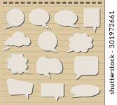 speech bubbles on note paper... | Shutterstock .eps vector #301972661