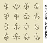 leaf icon set | Shutterstock .eps vector #301978445