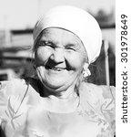 black and white grandma smiles... | Shutterstock . vector #301978649