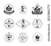 vintage pike fishing emblems ... | Shutterstock .eps vector #301986275