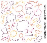 hand drawn arrows and clouds  | Shutterstock .eps vector #301995821