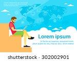 freelancer man using laptop...   Shutterstock .eps vector #302002901