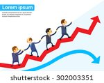 business people running red... | Shutterstock .eps vector #302003351