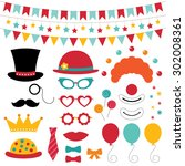 circus vector photo booth props ... | Shutterstock .eps vector #302008361