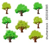 isolated cartoon tree set  flat ... | Shutterstock .eps vector #302018585
