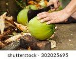 Green Fresh Coconut Peeling An...
