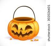 orange pumpkin basket to... | Shutterstock .eps vector #302026601