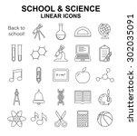 school and science vector... | Shutterstock .eps vector #302035091
