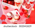 saint valentine red and white... | Shutterstock . vector #302041829