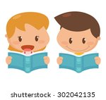kid in action. reading books.... | Shutterstock .eps vector #302042135