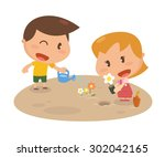 kids activity. growing flowers. ... | Shutterstock .eps vector #302042165