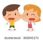 kids in action. greeting. flat... | Shutterstock .eps vector #302042171