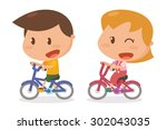 kids activity. bicycle. flat... | Shutterstock .eps vector #302043035