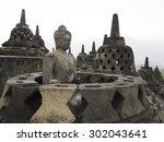 buddha statue in buddhist... | Shutterstock . vector #302043641