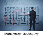 businessman finding the... | Shutterstock . vector #302058299