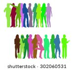 many vector silhouettes over...   Shutterstock .eps vector #302060531