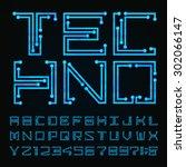 techno type font alphabet.... | Shutterstock .eps vector #302066147