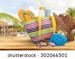 vacations  summer  beach bag. | Shutterstock . vector #302066501