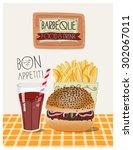 hamburger illustration. burger... | Shutterstock .eps vector #302067011
