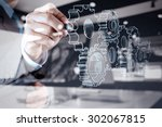 double exposure of businessman... | Shutterstock . vector #302067815