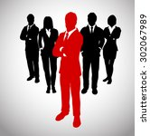 leader before a team of... | Shutterstock .eps vector #302067989