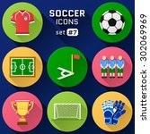 color flat icon set of soccer... | Shutterstock . vector #302069969