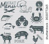 meat menu. set of meat symbols ... | Shutterstock .eps vector #302077265