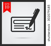 icon of cheque book page  pen... | Shutterstock .eps vector #302079185