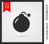 ignited bomb. vector icon for... | Shutterstock .eps vector #302080229