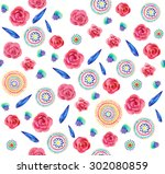 seamless pattern with beautiful ... | Shutterstock . vector #302080859
