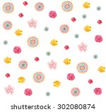seamless pattern with beautiful ... | Shutterstock . vector #302080874
